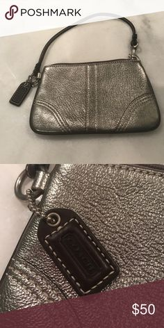 """Coach silver wristlet Silver coach wristlet. Used once. 6.5"""" x 4"""" Coach Bags Clutches & Wristlets"""