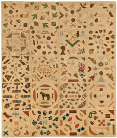 Pictorial Quilt, circa 1840. Cotton, cotton thread, 673⁄4 x 851⁄2 in. (172.1 × 217.2 cm). Brooklyn Museum, Gift of Mrs. Franklin Chace, 44.173.1. Brooklyn Museum photograph. Photo by Gavin Ashworth, 2012