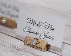 Wine Cork Wedding Place Card Holder, Glam Table Settings Place Card Holders Weddings or Bridal Shower, Rhinestones Sparkle Name Card Holder