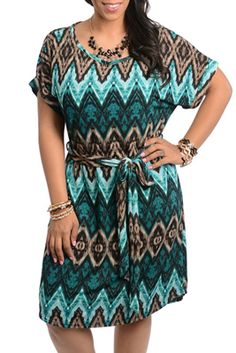 DH STYLES Plus Size Chevron Print Knee Length Dress