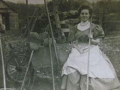 Farm Ladies-Wheelbarrow-Pumpkin-Rake-ID'd Trowbridge-Vintage Real Photo Postcard