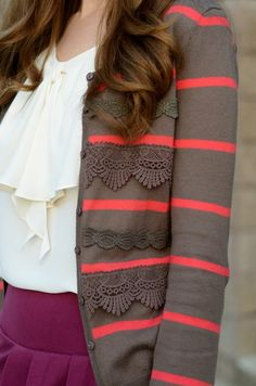 stripes and lace cardigan