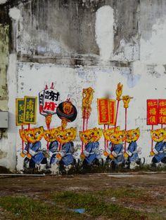 Cat temple street art, Penang