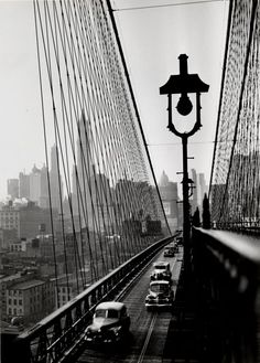 Esther Bubley - New York Harbor. Looking Toward Manhattan from the Footpath on Brooklyn Bridge | October, 1946