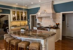 Interior kitchen picture of island with double granite top (seats 6)