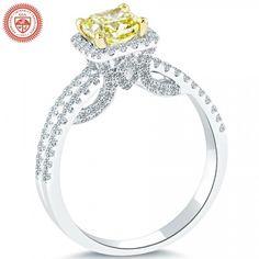 1.79 Carat GIA Certified Fancy Yellow Diamond Engagement Ring 18k Gold Pave Halo