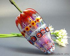 A Ray of Sunshine - Handmade Lampwork glass focal flower bead by 'ManuelaWutschke'. on Etsy.♥≻★≺♥