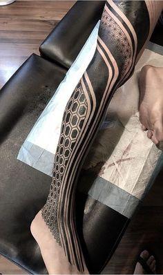 Search inspiration for a Geometric tattoo. Leg Tattoo Men, Calf Tattoo, Leg Tattoos, Tribal Tattoos, Sleeve Tattoos, Tattoos For Guys, Tatoos, Black Tattoo Art, Black Tattoos
