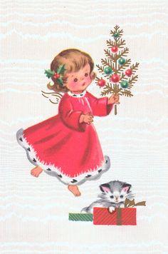 Vintage Christmas card – little girl and kitten - Christmas Cards Vintage Christmas Images, Old Christmas, Old Fashioned Christmas, Retro Christmas, Vintage Holiday, Christmas Pictures, Christmas Angels, Christmas Greetings, Christmas Kitten