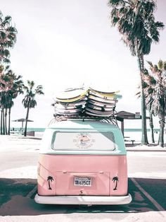 Vintage Aesthetic Discover Pink Kombi Van Surf Art Poster by PinkJellyfishCo Bedroom Wall Collage, Photo Wall Collage, Picture Wall, Surfing Pictures, Beach Pictures, Retro Pictures, Stretched Canvas Prints, Canvas Art Prints, Wall Prints