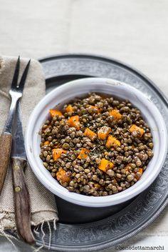 Insalata di lenticchie e zucca al forno