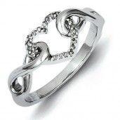 Sterling Silver Diamond Heart Ring - Promise Ring