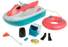 """Lil' Bratz: Beach Water Cruiser by MGA Entertainment. $8.99. Ages 4 years and up. Comes with a matching inner tube, cooler, surfboard and life vest. Sized for Lil' Bratz dolls. Sleek and fun Lil' Bratz-size jet ski. 5-3/4Hx9Wx4D"""". Totally tubular! This jet ski seats 2 Lil' Bratz dolls and tows along a matching inner tube; booth actually floats in a pool or tub. Hip colors and kickin' accessories make it the biggest splash of the season. Ages 4 years and up. Importe..."""