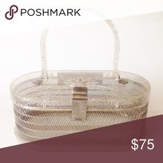 🏆HP🏆 Vintage Lucite + Tin Handbag Adorable retro purse from MW Hand Bags, circa late 40s-early 60s. Lid/handle/base made of confetti/glitter lucite. Body/clasp made of silver-toned metal. Handle/lid have 180° range of motion. EXCELLENT, functional pre-owned condition. Some scratches on inside/outside of the base & a few spots where material is slightly worn due to age, typical for vintage items. BODY: 8 x 3½ x 4½. HANDLE: ½ x ¼ wide, 4½ tall. From a clean, smoke-free home. Please ask any…