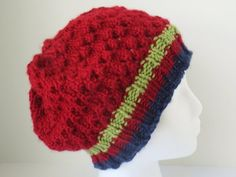 Hand knit red hat, red eyelet slouch, red tam hat