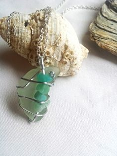 £12.95Unique aqua sea glass pendant necklace