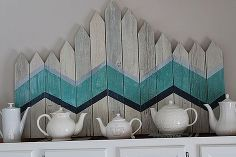 DIY chevron picket fence art, home decor, See my link for more details about this project