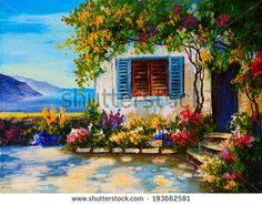 Oil painting on canvas of a beautiful houses near the sea, abstract drawing  - stock photo