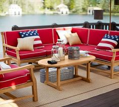 This Larkspur Teak Sectional is perfect for patio time and outdoor parties.
