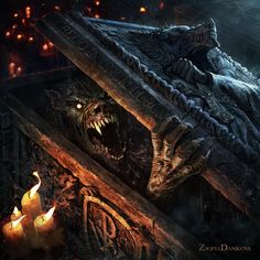 Beautiful Science Fiction, Fantasy and Horror art from all over the world. Werewolf Hunter, Werewolf Art, Fantasy Monster, Monster Art, Dark Fantasy Art, Sci Fi Fantasy, Horror Art, Horror Movies, Arte Zombie