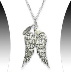 Cross & Angel Wing Necklace w/ Feather