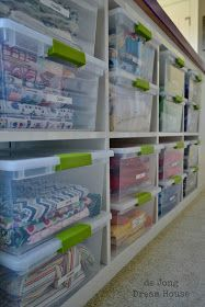 Store fabric in clear plastic bins. Protects from dust but can see what is inside.