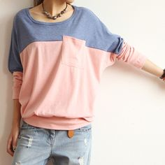 Aliexpress.com : Buy 2013 new Korean version of the color stitching bat sleeve round neck loose blouses from Reliable korean blouse fashion ...