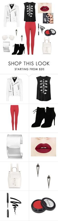 """""""leather jackets"""" by mayamaya269 ❤ liked on Polyvore featuring Yves Saint Laurent, WearAll, Tom Ford, Allurez, French Connection, Eva Fehren, Bobbi Brown Cosmetics, Manic Panic NYC and Linda Farrow"""