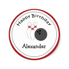 20 Customizable Cupcake Toppers Bowling Party Classic Round Sticker