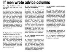 If Men Wrote Advice Columns #funny_pictures #men #If_Men_Wrote_Advice_Columns #women