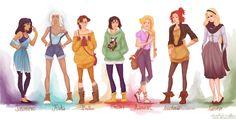 Fashionable Disney Princesses. By viria. http://viria.tumblr.com/post/16459571814/fashion-princesses-part-2-ps-guys-i-know