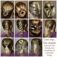 Beautiful Lilia Rose, create 10 hairstyles with one clip! Buy from my Lillia Rose Party today! www.lillarose.biz/parties/18949