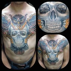 Discover symbols of wisdom and death with the top 50 best owl skull tattoo designs for men. Explore cool ink ideas and body art styles. Owl Skull Tattoos, Skull Tattoo Design, Tattoo Designs Men, Chest Tattoo Tiger, Owl Tat, Totenkopf Tattoos, Color Tattoo, Ink Art, Tattoos For Guys