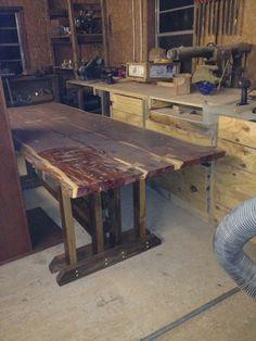Cedar slab with ash and walnut bowties