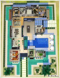 Casa Hanna - casa The Sims Sims 4 House Plans, Sims 4 House Building, Home Building Design, Modern House Plans, Casas The Sims Freeplay, Sims Freeplay Houses, Sims 4 Houses Layout, House Layouts, Hanna House