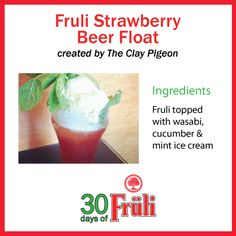 Fruli Ice Cream Float Mint Ice Cream, Ice Cream Floats, Strawberry Beer, Eat Your Heart Out, Cucumber, Nom Nom, Clay, Favorite Recipes, Clays