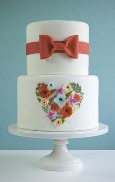 Floral heart cake by Petal and Posie Cakes, inspired by Rifle Paper Co.'s heart print