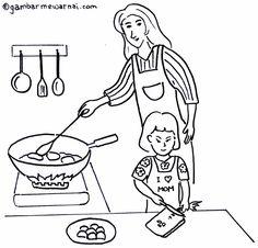 Gambar Membantu Ibu Memasak Untuk Mewarnai