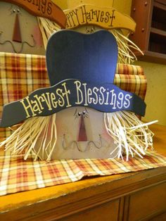 Hand Cut And Painted Scarecrows With Raffia Hair Measures Tall--- Head And Hat Cut From Thick Wood With A Piece Wood Glued And Nailed To Back For Support Thanksgiving Wood Crafts, Fall Wood Crafts, Halloween Wood Crafts, Halloween Ideas, Pumpkin Crafts, Halloween Projects, Halloween Stuff, Fall Halloween, Diy Crafts