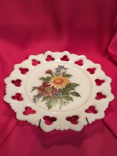 Vintage Floral Milk Glass Plate Circa Kemple in by WillowBendVintage on Etsy Vintage Canisters, Vintage Dishes, Hand Painted Plates, Mccoy Pottery, White Coffee Mugs, Fenton Glass, Carnival Glass, Floral Bouquets, Milk Glass