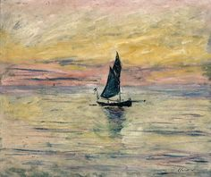 The Sailing Boat, Evening by Claude Monet in oil on canvas, done in Now in The Musée Marmottan. Find a fine art print of this Claude Monet painting. Claude Monet, Edgar Degas, Monet Paintings, Landscape Paintings, Abstract Paintings, Landscapes, Artist Monet, Pierre Auguste Renoir, Impressionist Paintings