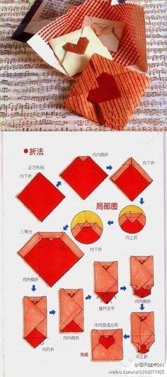 DIY Origami: DIY Origami heart notes. valentines day.
