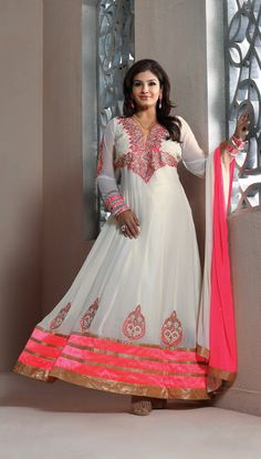 lovely #pink with white shaded #georgette long #anarkalisuit at designersaree.us