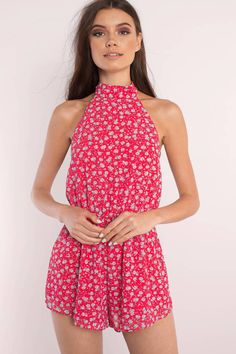 You're going to want the Raquel Floral Print Romper. Featuring a halter neck and tie back detail. Wear with lace up sandals. - Fast & Free Shipping For Orders over $50 - Free Returns within 30 days!