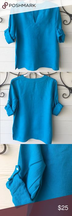 Classic Ralph Lauren Linen Turquoise Tunic SZ Lg 👚Gently worn Ralph Lauren Linen Tunic V-neck with 3/4 rolled button sleeves Lauren Ralph Lauren Tops Blouses