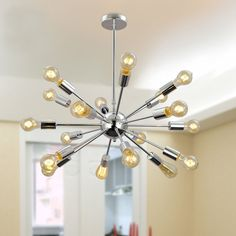 Mid Century Modern Round Sputnik Chandelier light fixture - Chrome Brass fixture #Nauticalvintage #Modern