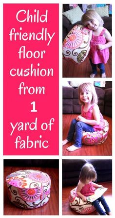 DIY~ Make a fun Floor Cushion From 1 Yard of Fabric- tutorial. Great gift idea!