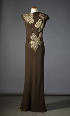 Dress: 1938, French, silk with appliqué embroidery of lamé and embroidery of shimmering pearls.