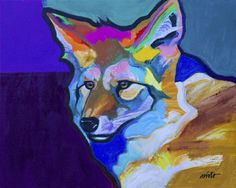 Medium portrait of a young coyote 16x20