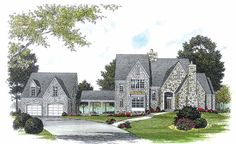 French Country House Plan with 3197 Square Feet and 4 Bedrooms from Dream Home Source | House Plan Code DHSW15787